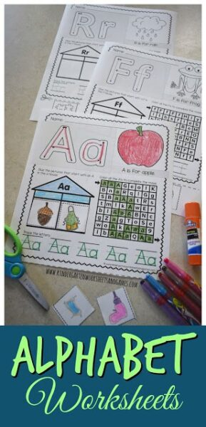 FREE Alphabet Worksheets - these super cute free letter printables are a great tool for helping preschool, prek, kindergarten, and first grade studnets to make their letters with color /cut / paste to strengthen fine motor skills, alphabet lazes, simple alphabet sentence and identify beginning word sound too. #kindergartenworksheets #kindergartenprintables #alphabet