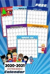 Printable Superhero Calendar 2020 - 2021