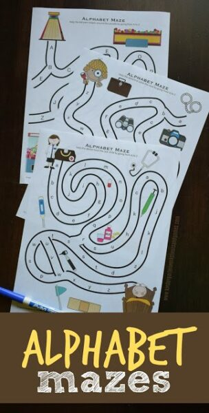 FREE Alphabet Mazes - help students practice their ABCs with these free letter printables! Several different themse for students to practice uppercase and lowercase letters with pre k, kindergarten, and grade 1. #alphabet #prek #kindergarten