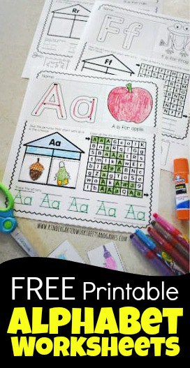 Download and print these super cute, hand, and Free Printable Alphabet Worksheets that are a no prep alphabet activity for preschool, pre k, kindergarten, and first grade students.  Each cute alphabet page from A to Z allows kindergartners to trace letters, cut & paste beginning sounds clipart, letter recognition maze, and more. This free worksheet is a must for parents, teachers, and homeschoolers!