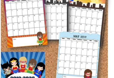 Free printable calendar featuring super hero girls