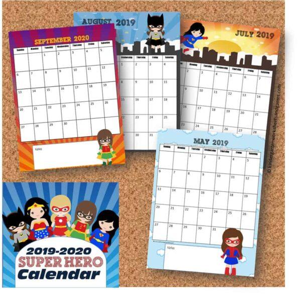 Free printable calendar featuring super hero girls