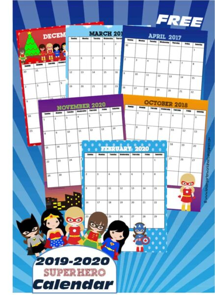 FREE Girl Super Hero Printable Calendar 2019-2020 - kids will have fun learning about days, months, and year with these super cute calendar for preschool, kindergarten, and first graders #superhero #calendars #freeprintable