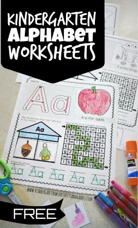 super cute and free pritnable Kindergarten Alphabet Worksheets are a great way for preschool, pre k, kindergartners, and first graders to practice letters from A to Z.