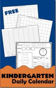kindergarten calendar printable