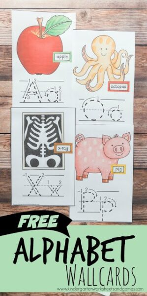 FREE Alphabet Wall Cards are perfect to hang in your playroom, school room, or homeschool space to help kids visualize how to form both upper case and lower case letters, the order of their ABC, and to help them start to remember what sound each letter makes with the cute image visual cue. #alphabet #preschool #kindergarten