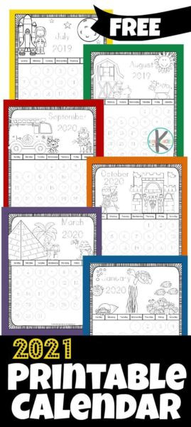 Kids will love this adorable free printable coloring calendar 2021 -with cute monthly themes. Theseprintable coloring calendar 2021 allows toddler, preschool, pre-k, kindergarten, and first grade students to have fun coloring while learning about days, weeks, and months of the year!