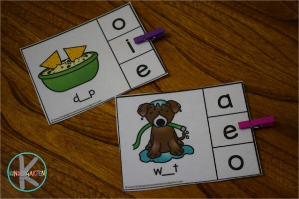 Fun, low prep short vowel activity for kindergartners and first graders