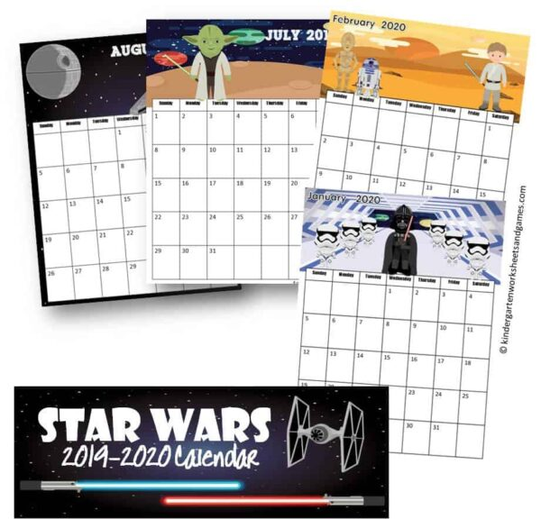 FREE printable calendar with a fun star wars theme including darth vadar, yoda, luke, storm troopers, kylo ren, and more