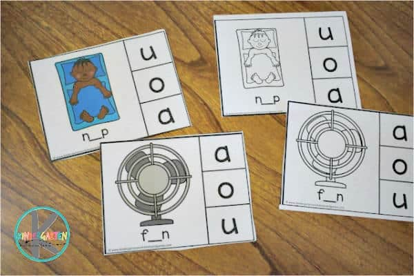 middle sounds cvc words activity for kindergarten and grade 1