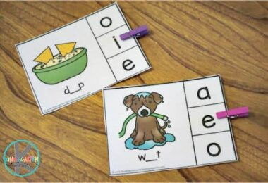 fun phonics activity for teaching vowel sounds and middle sounds to pre-k, kindergarten, and first grade students