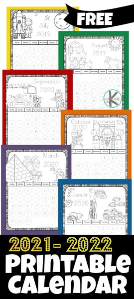 Kids will love this adorable free printable coloring calendar 2021-with cute monthly themes. Theseprintable coloring calendar 2022 allows toddler, preschool, pre-k, kindergarten, and first grade students to have fun coloring while learning about days, weeks, and months of the year! Updated annually! Simply download pdf file withcalendar coloring pagesand you are ready to colour and learn!