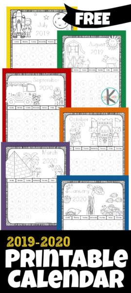 FREE Printable Calendar for Kids to Color - this free 2020 printable calendar is a fun way for kids to learn about they days and months that make up our year. Each month has a different theme to color and each day has numbers to trace or mark off with a bingo marker. Perfect for back to school with preschool, prek, kindergarten, and first grade students #calendar #printablecalendar #kindergarten