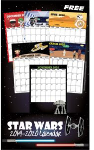 FREE Star Wars Calendar 2019-2020 - super cute star wars themed free printable calendar for preschool, prek, kindergarten, and first grade kids #starwars #printable #calendar