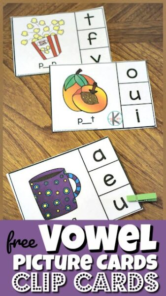 Help kids listen for vowels in the middle of cvc words with these super cute, free printablevowel picture cards clip cards. Simply say the picture name out loud and use phonemic awareness to listen for the sound in middle of the simple words. This low prep activity for preschool, pre k, kindergarten, and first grade students help improve phonics skills as children learn the sounds letters a, e, i, o, and u make.