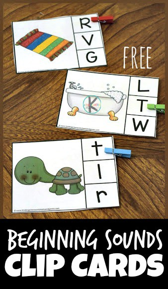 Kids will have fun practicing identifying initial sounds with these super cute, free printable, beginning sounds clip cards. This phonics activity helps preschool, pre-k, and kindergarten age students work on phonemic awareness and learning to listen for the sounds letters make in the beginning of words.  There are 26 beginning sound cards A to Z.