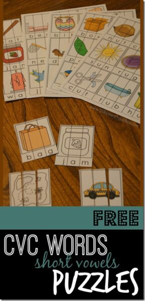 FREE CVC Words Puzzles - practice cvc words free and cvc words kindergarten with these printable cvc words activity to help kids work on literacy and short vowels. Print in color or black and white. Perfect for Kindergarten and first grade #cvcwords #kindergarten #shortvowels