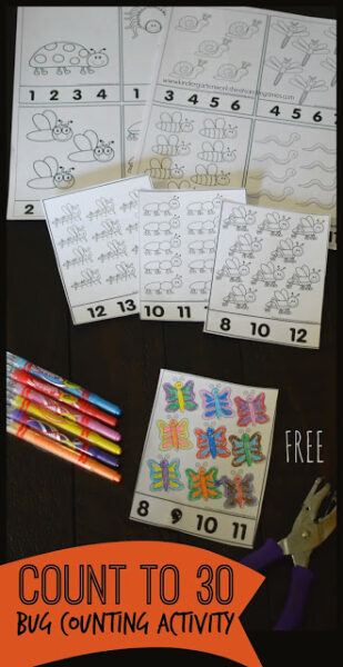 Kindergarten age kids will have fun practicing counting 1-30 with thesecounting to 30 worksheets. Thesebug worksheets allow children to practice counting, tracing numbers 1 to 30, number recognition, and strengthening hand muscles coloring and hole punching. This counting to 30 activities is a self correcting preschool, pre-k, and kindergarten bug activity perfect for spring or an insect theme. Simply printcount to 30 worksheet and you are ready to play and learn!
