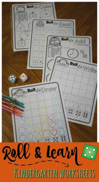 FREE Roll & Learn Fall Kindergarten Worksheets - NO PREP back free for teachers, parents, homeschoolers to help preschool, prek, kindergarteners practice writing number, alphabet letters, drawing shapes, telling time, sight words, word families, color words, and so much more! #fall #worksheetsforkids #kindergarten