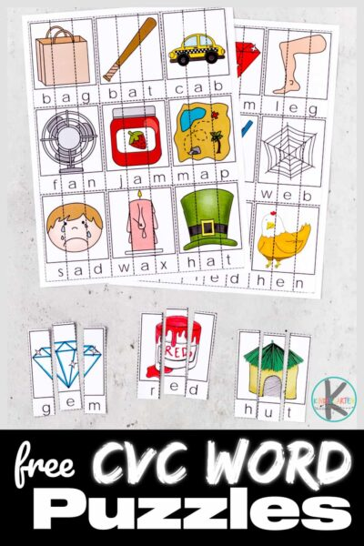 Make learning to read fun with these super cute, cvc word puzzles free printable. Thesecvc puzzles include over 45 CVC word puzzles with pictures to help early readers practice building this simple words one sound at a time. This cvc activity is such a fun way to start sounding out words and reading with preschool, pre-k, kindergarten, and first grade students. Simply print cvc words printable to use this cvc words activity to make working on phonics skills FUN!