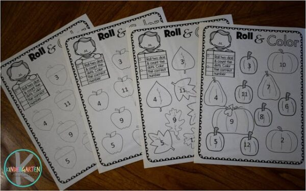 Fall Worksheets for Kindergarten