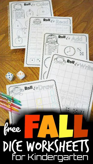 Make practicing writing letters, adding, identifying colors, reading, and so much more fun with these free printable dice worksheets for kindergarten. These roll and add worksheet free  are such a handy, no prep activity that uses the free worksheets and a pair of dice to practice a variety of skills with preschool, pre k, kindergarten, and grade 1 students.