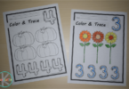 FREE Fall Color and Trace number worksheets