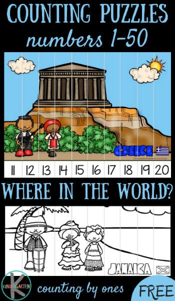 FREE Around the World Counting to 50 - help Kindergarten kids practice counting from 1-50 with these fun, free printable around the world puzzles that help kids explore greece, jamica, kenya, the netherlands, and more. (cool math games, kindergarten math, counting to 50) #counting #kindergarten #math