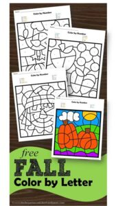 FREE Printable Fall Color by Letter Worksheet