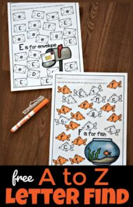 Free Printable Find the Letter worksheets for kindergartners and preschoolers
