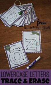 lowercase letter vegetable and fruit printables