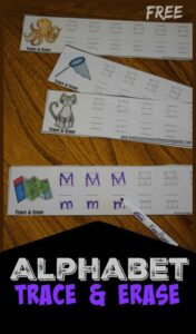 FREE Alphabet Trace and Erase - this free printable is a fun way for preschool, prek, and kindergarten age kids to practice tracing letters. #alphabet #preschool #kindergarten