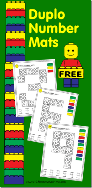 FREE Duplo Number Mats to practice tracing numbers 1-10