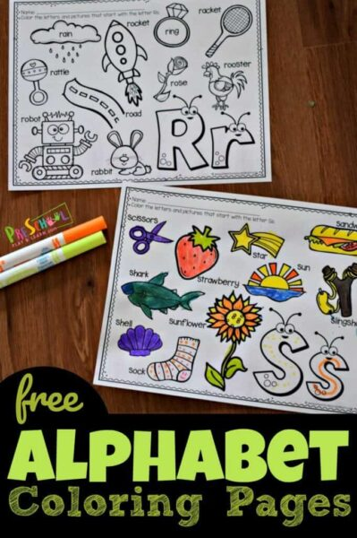 FREE Cute Alphabet Coloring Pages