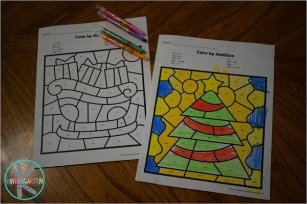 FREE Christmas Color by Kindergarten Sight Words
