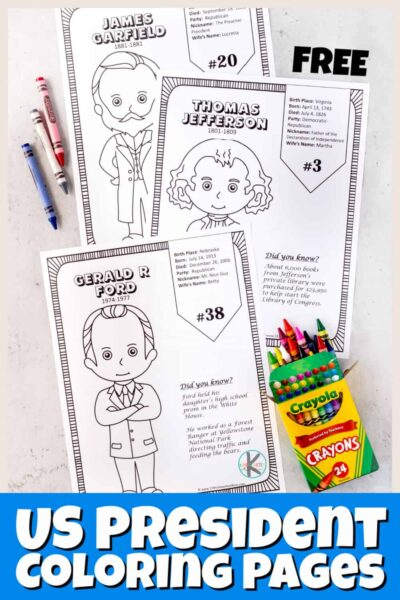 Help kids learn about the united states presidents with these super cute, president coloring pages. There is a black and whitepresidents day coloring pages for all the us presidents from George Washington through Joe Biden and everyone in between. Use presidents coloring pages or as American history coloring pages or as a low prep way to learn about some of the imporantn leaders that shaped our coutnry. Each page ofpresidents for kids includes a picture to color, key facts, and did you know section. Use these with toddler, preschool, pre-k, kindergarten, and elementary age students in first grade, 2nd grade, 3rd grade, 4th grade, 5th grade, and 6th graders. Simply print pdf file with free printable pictures of presidents.