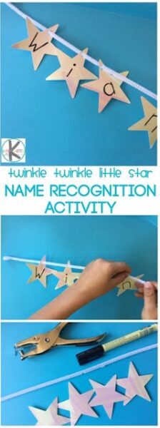 Kindergartners use nursery rhymes to help them work on early literacy skills and reading readiness. Since these rhymes are so familiar to preschool, pre k, and kindergarten age students - this super cute name recognition activity is the perfect theme for this twinkle twinkle little star activities.