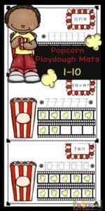 Free Printable Popcorn Playdough Mats