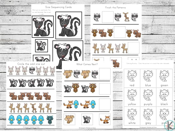 free kinergarten worksheets with a fun forest animal theme to practice patterns, sizes, what comes next, colors