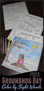 color by sight words groundhog day worksheets