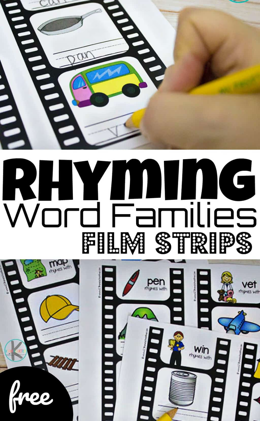 Help kids learn to identifyrhyming word families to improve reading and spelling skills with this fun word family printable activity. These free printable word family strips have pictures for kindergarteners and first grade students to sound out and spell. Download pdf file with rhyming families activity to improve fluency!