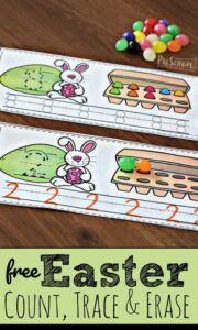 use jelly beans to practice counting with this easter math activity where students will count, trace numbers, and work on one to one correspondence