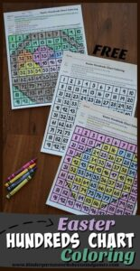 FREE Color by Easter Hundreds Chart - students will have fun practicing numbers 1-100 with this clever color by code activity to help prek and kindergarten age kids with this Easter worksheets for practicing math #eastermath #easterworksheets #kindergarten