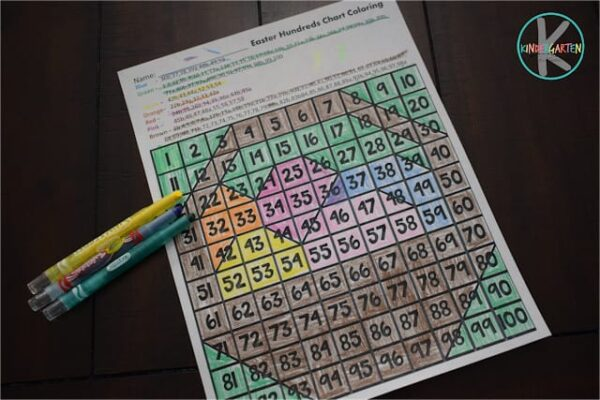 color by hundreds chart with these free printable Easter Worksheets for kidnergartners