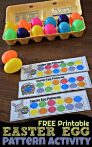use plastic easter eggs with this easter printable to help kids wor on easter math patterns