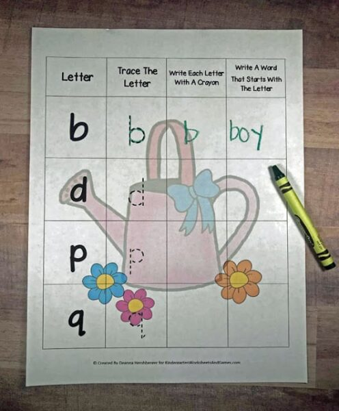 free spring watering can and flower themed Free Letter Reversal Worksheets to practice letters b,d,p,and q