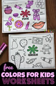learning colors worksheets that are coloring pages for toddler, preschool, kindergarten