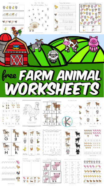 Old MacDonald Had a Farm E-I-E-I-O... and on his farm he practiced math and literacy with these adorable Farm Animals Worksheets! This HUGE set of over 90 pages of farm animals workeet page is filled with cute clipart of horse, dog, cow, pig, duck, turkey, goat, sheep, and more animals. These animals worksheets for kindergarten, toddler, preschool, pre-k, and first graders practices counting, tracing letters, addition, patterns, and so much more. Simply print thefarm animals worksheets pdfand you are ready to play and learn with afarm theme!