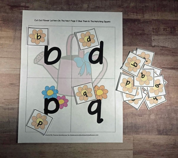 sort the b , d, p, and q flower pieces onto the sorting mat for a fun hands-on circle all the b,d,p,q on these kindergarten worksheets for practicnig letter reversal for kindergarten and first grade students