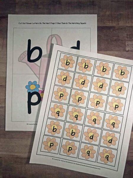spring themed letter reversal worksheets for kindergartners